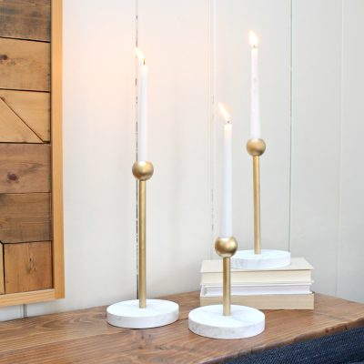 DIY Brass and Marble Candleholders