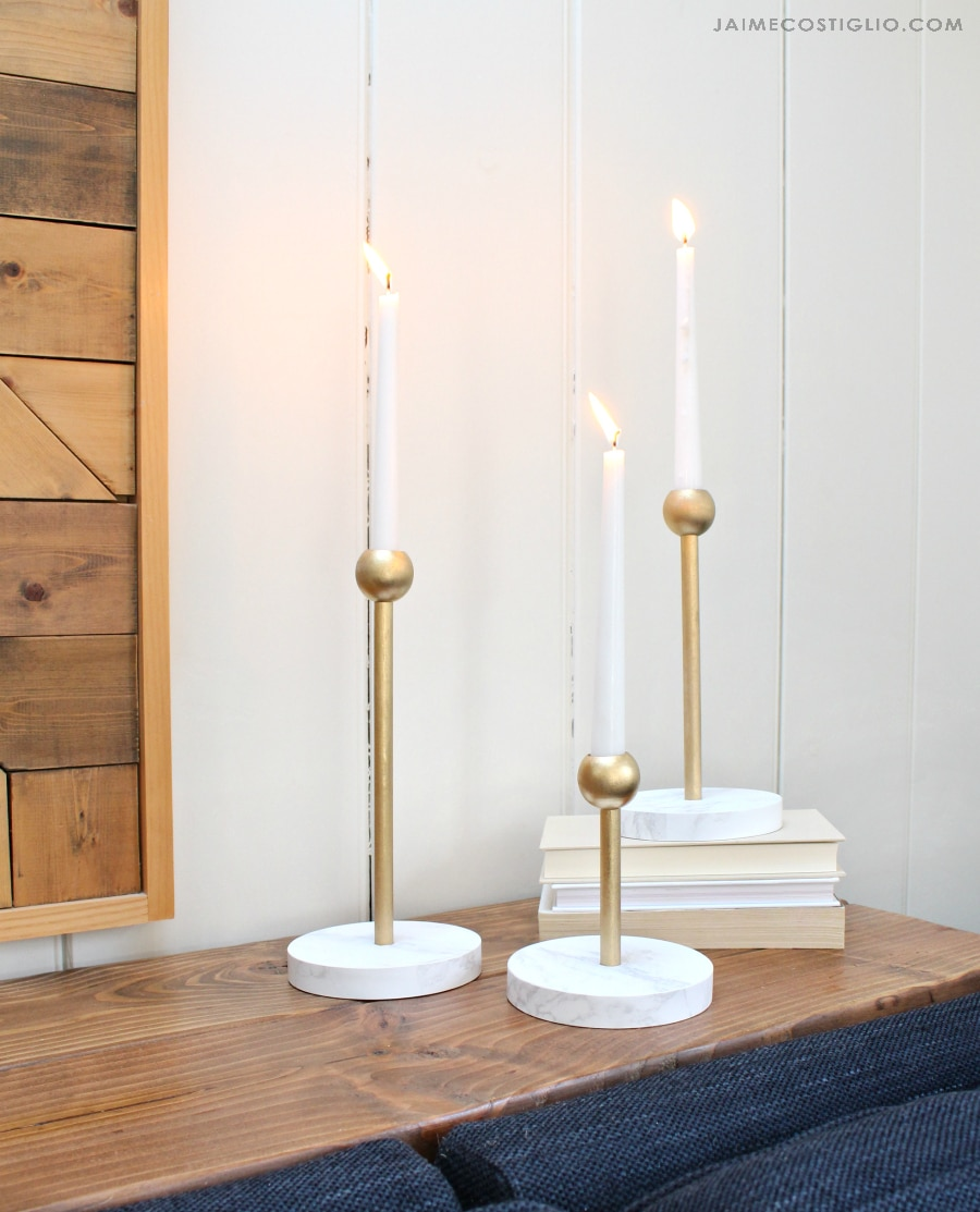 modern brass and marble candleholders 3