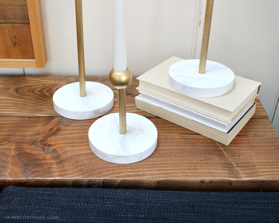 faux marble and brass candleholders