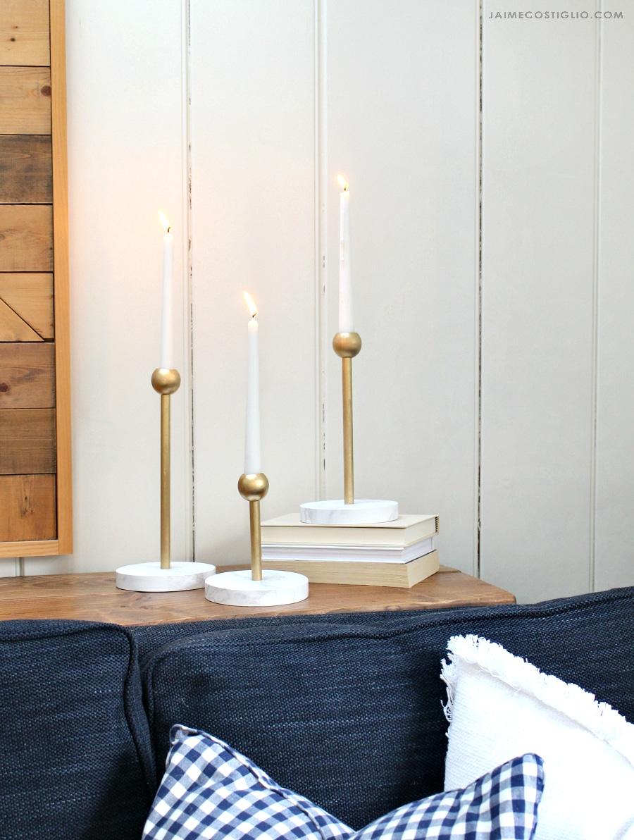 diy modern brass candleholders