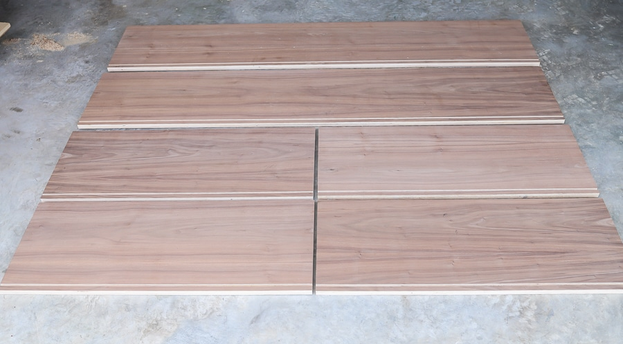 DIY entertainment center - grooves cut for the sliding door track