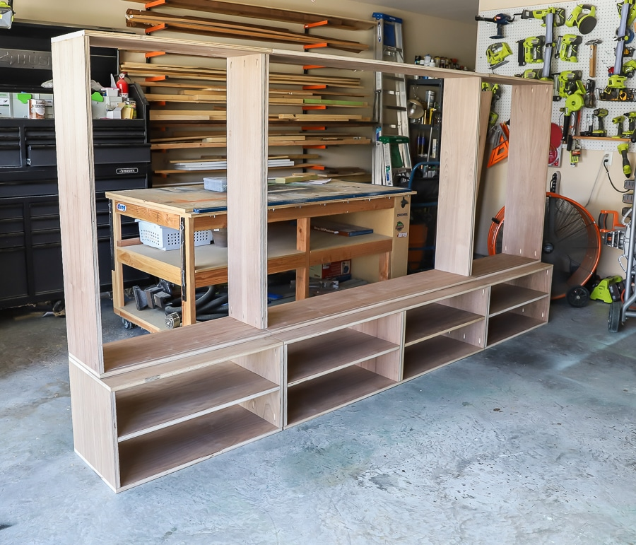 How to make a DIY entertainment center media console wall unit - the main carcass is built!