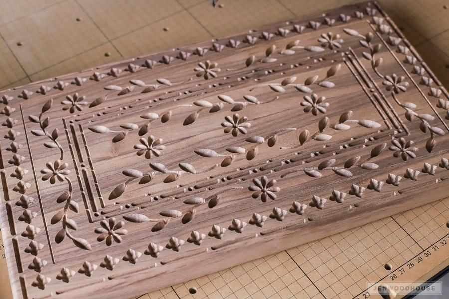 Indian inlay carved walnut cutting board