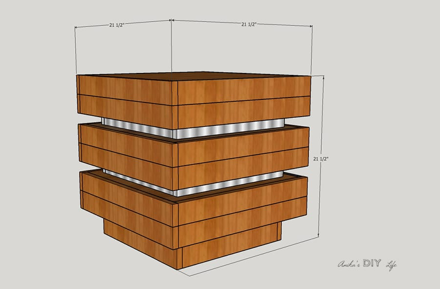 Schematic of a DIY tiered end table