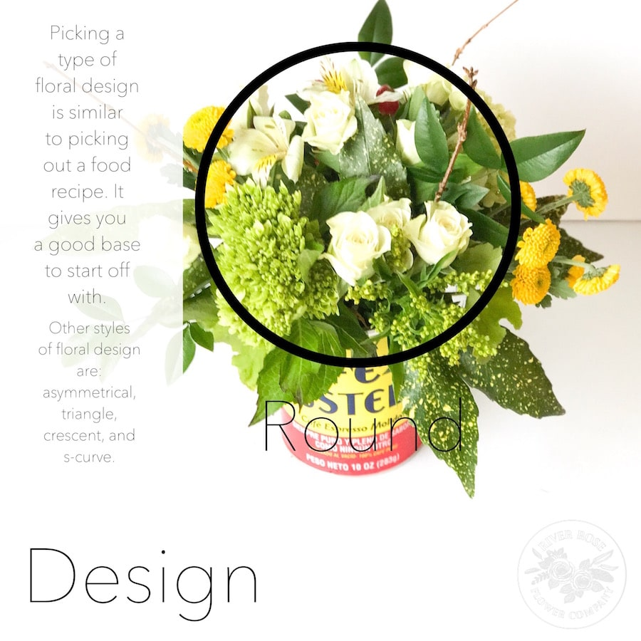 Styles of floral design: asymmetrical, triangle, crescent, and s-curve