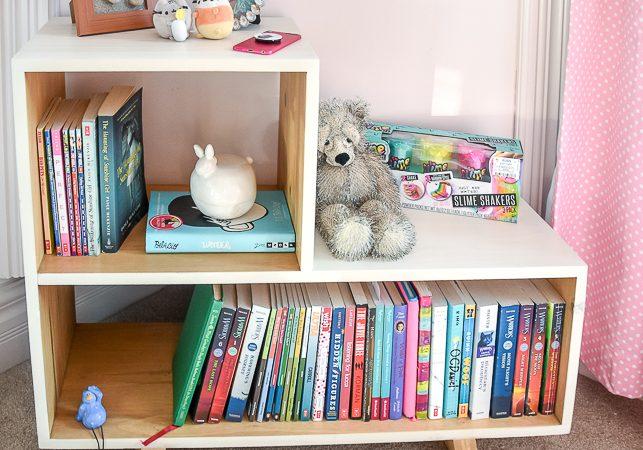 Mid-century modern side table, mcm side table, mid-century-modern nightstand, mid-century-modern bookshelf, simple DIY bookshelf
