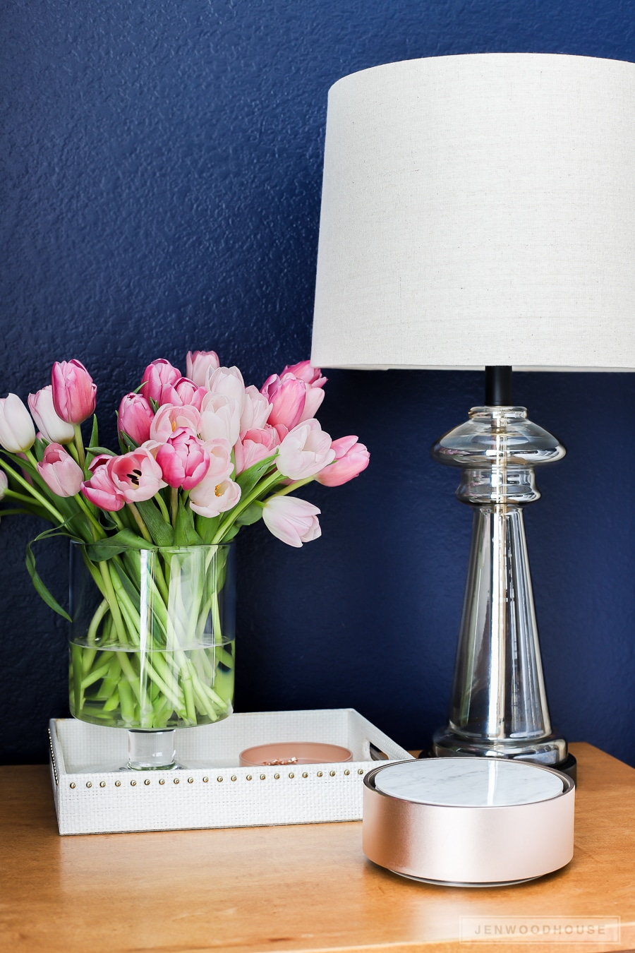 Add fresh tulips to your nightstand to bring Spring into your bedroom