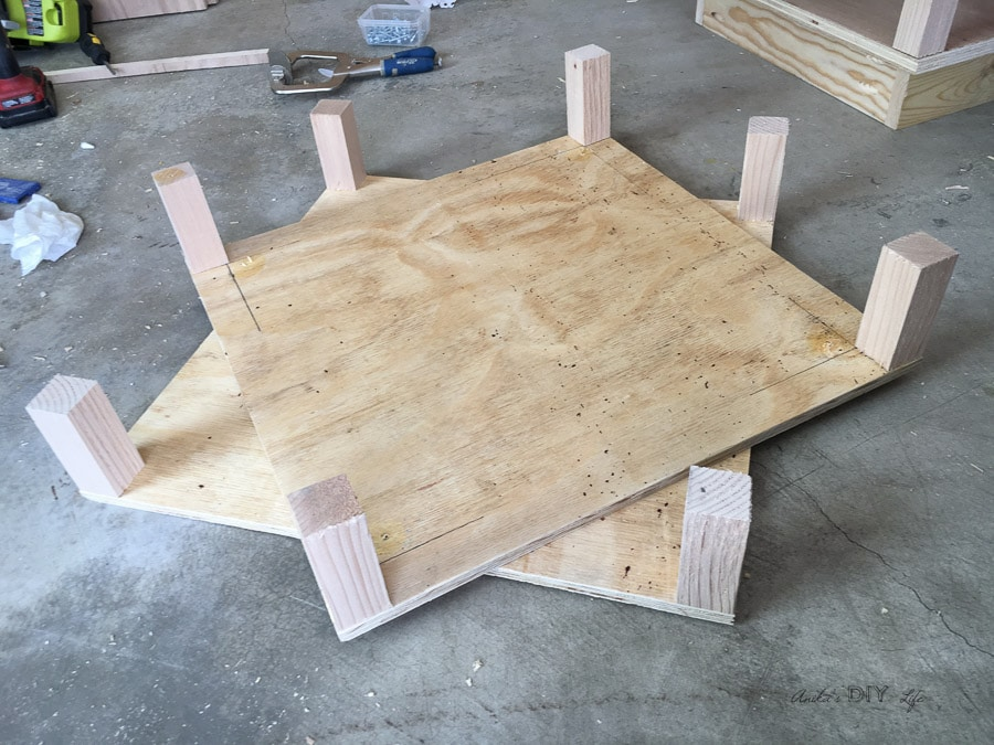 Building a chunky tiered end table - adding spacers