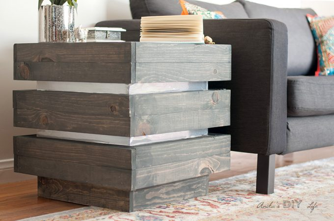 A chunky tiered end table