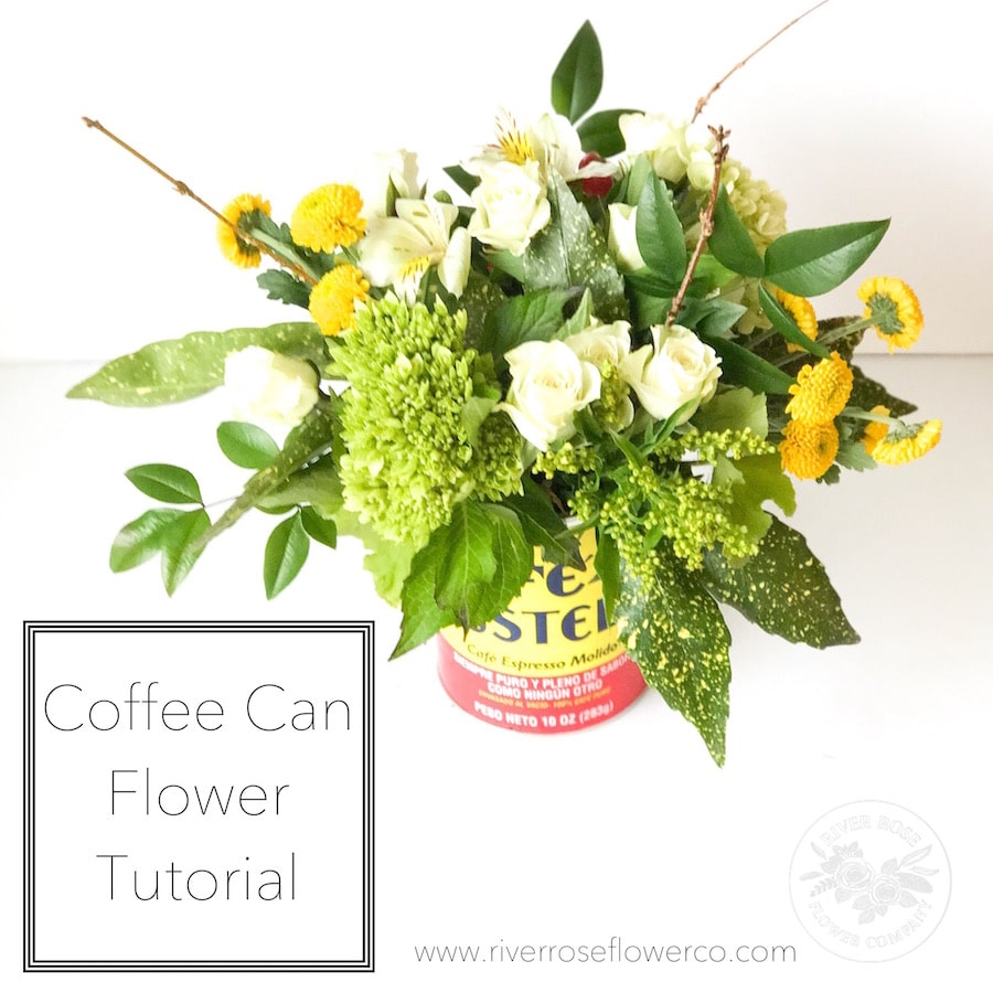 Learn how to arrange flowers in a coffee can