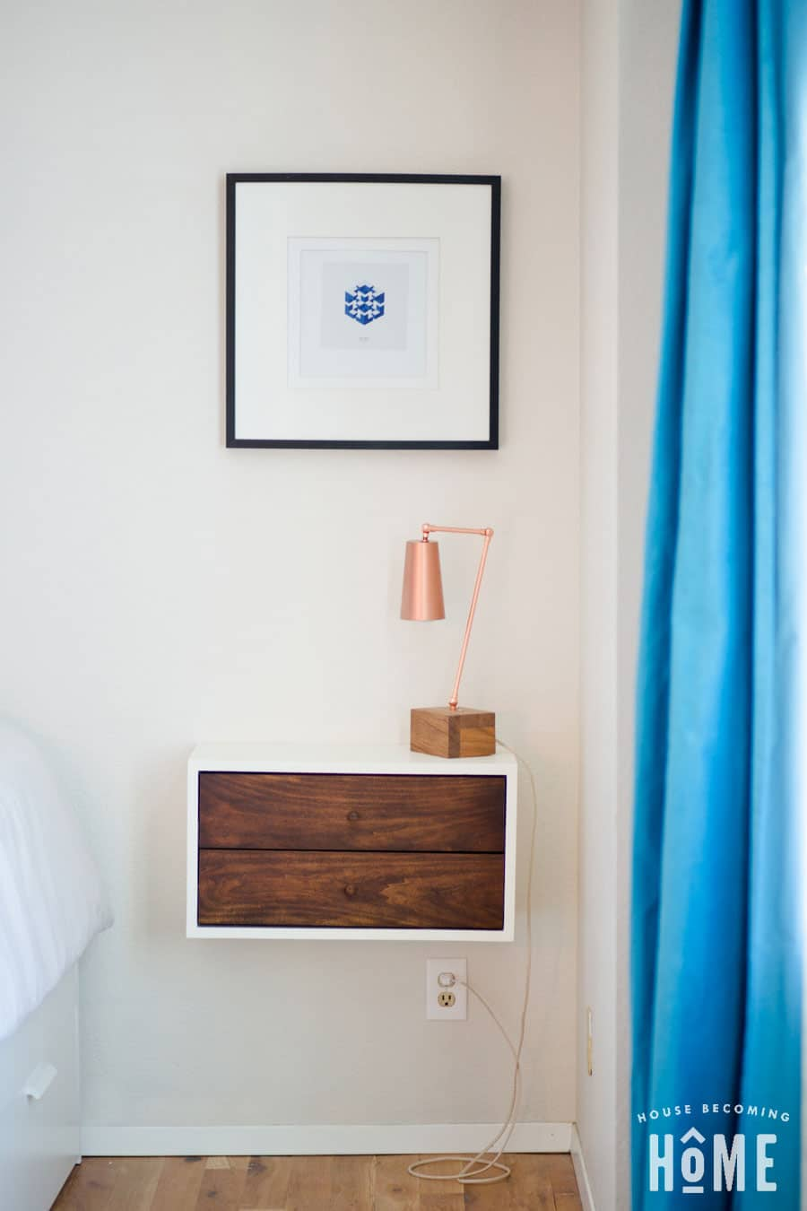 Floating Nightstand in master bedroom