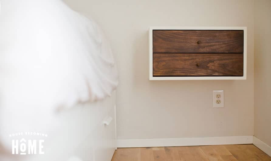 Floating Nightstand by bed