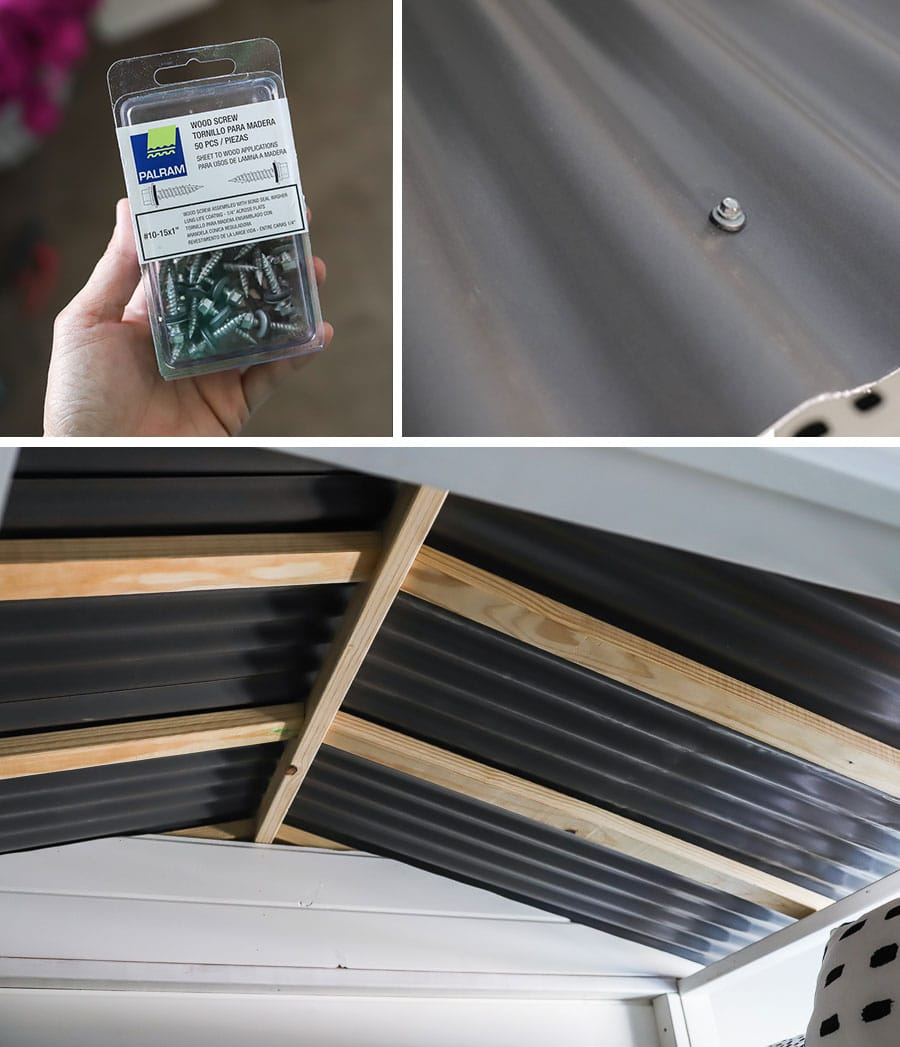 How to attach a corrugated roof panel to a sliding barn door loft bed