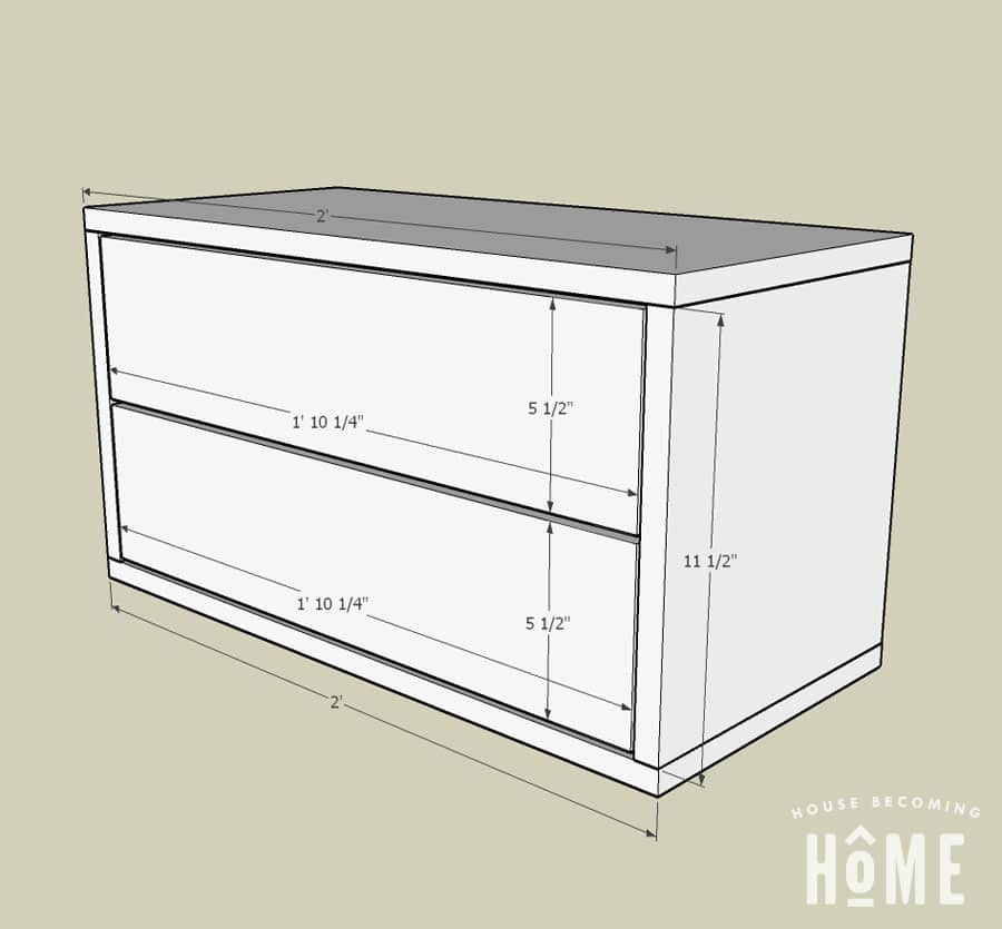 measurements of diy floating nightstand