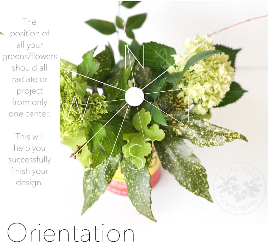 Orientation in floral design is important - start from the center and radiate out