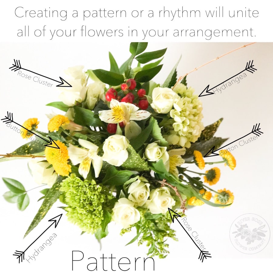 Creating a pattern or a rhythm in floral design will unite all of the flowers in an arrangement.