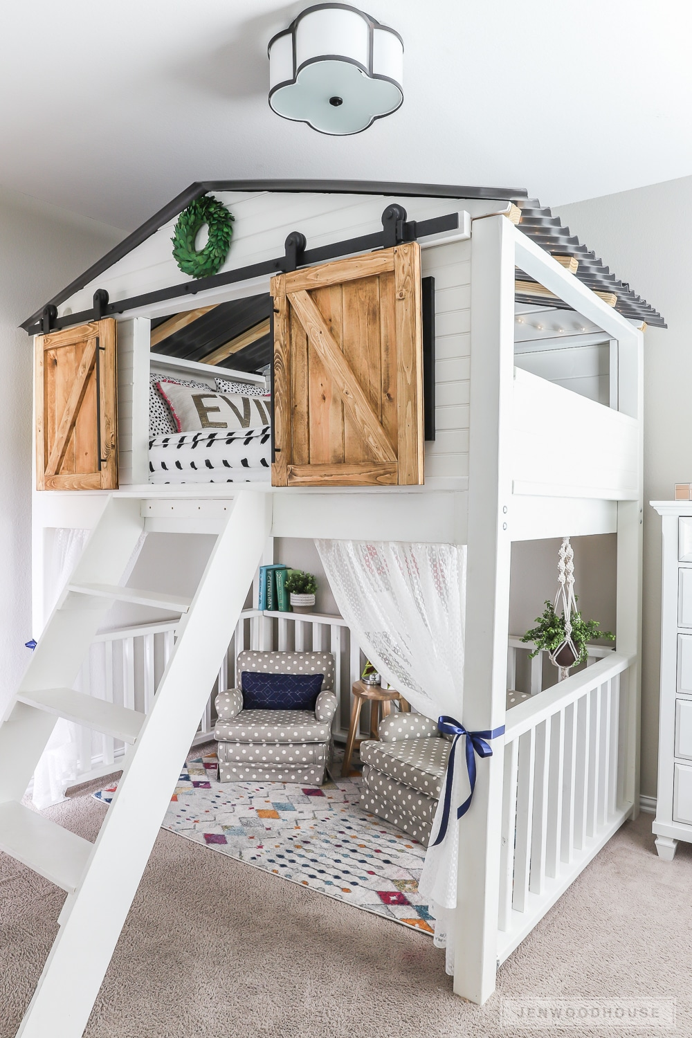 Advantages And Drawbacks Of Strong Wooden Loft Bed With Stairs How to build a DIY sliding barn door loft bed