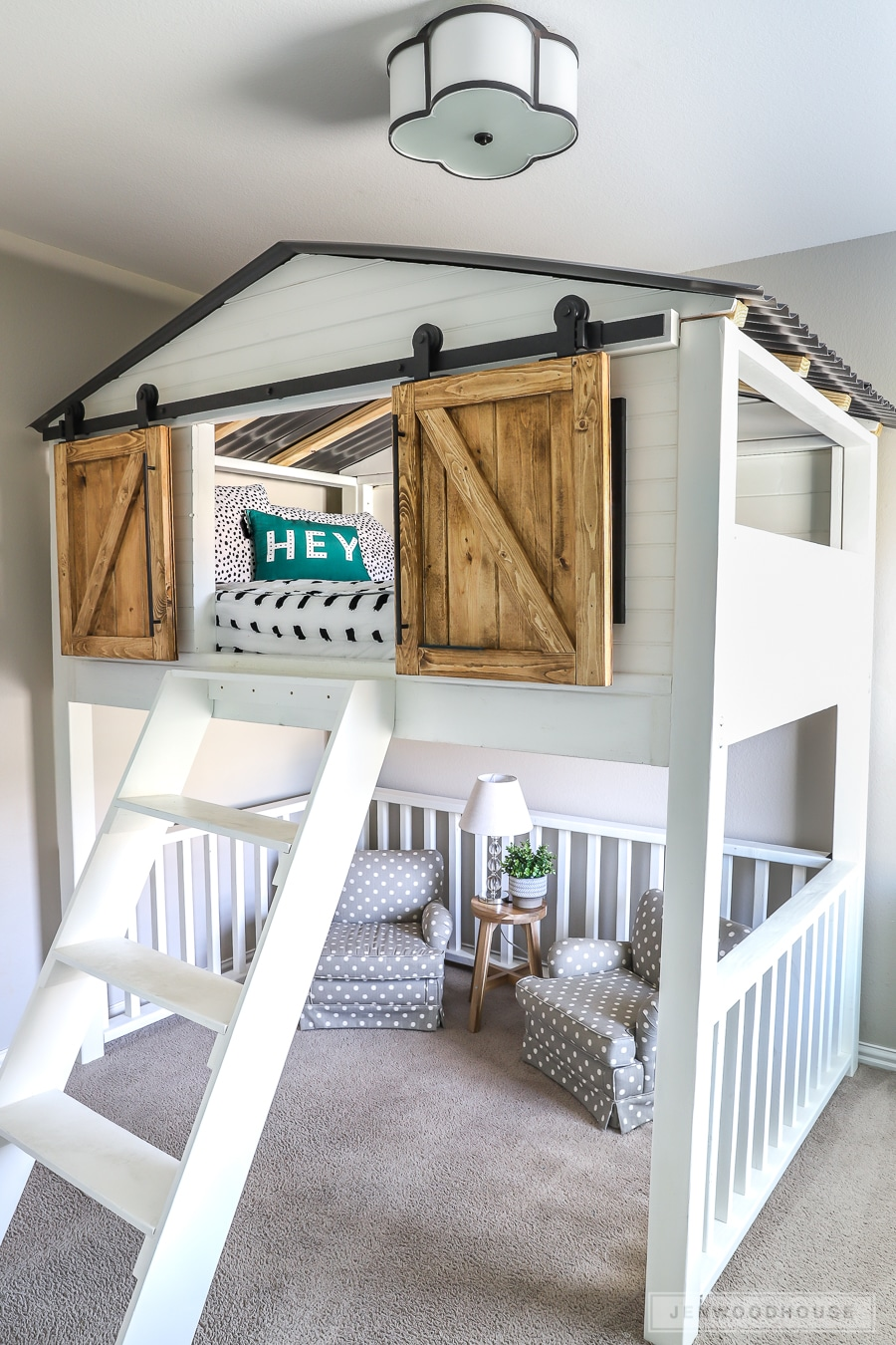 How To Build A Diy Sliding Barn Door Loft Bed Full Size