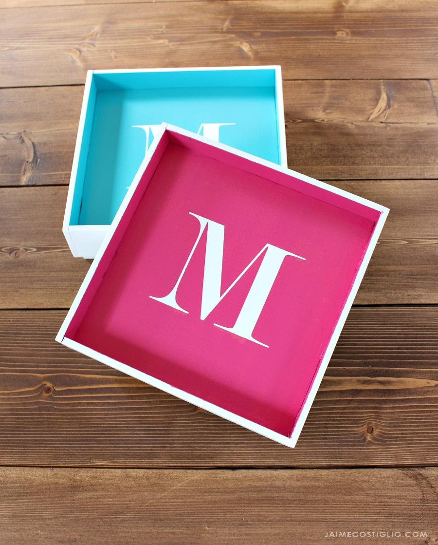 monogrammed desktop tray