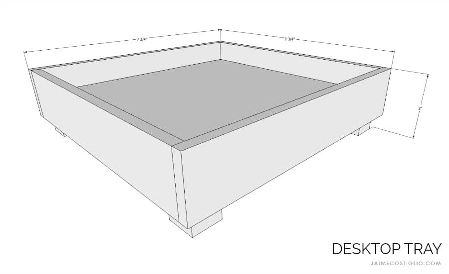desktop tray dimensions