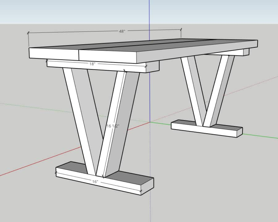 Easy DIY Outdoor Bench - diagram of leg sections measurements