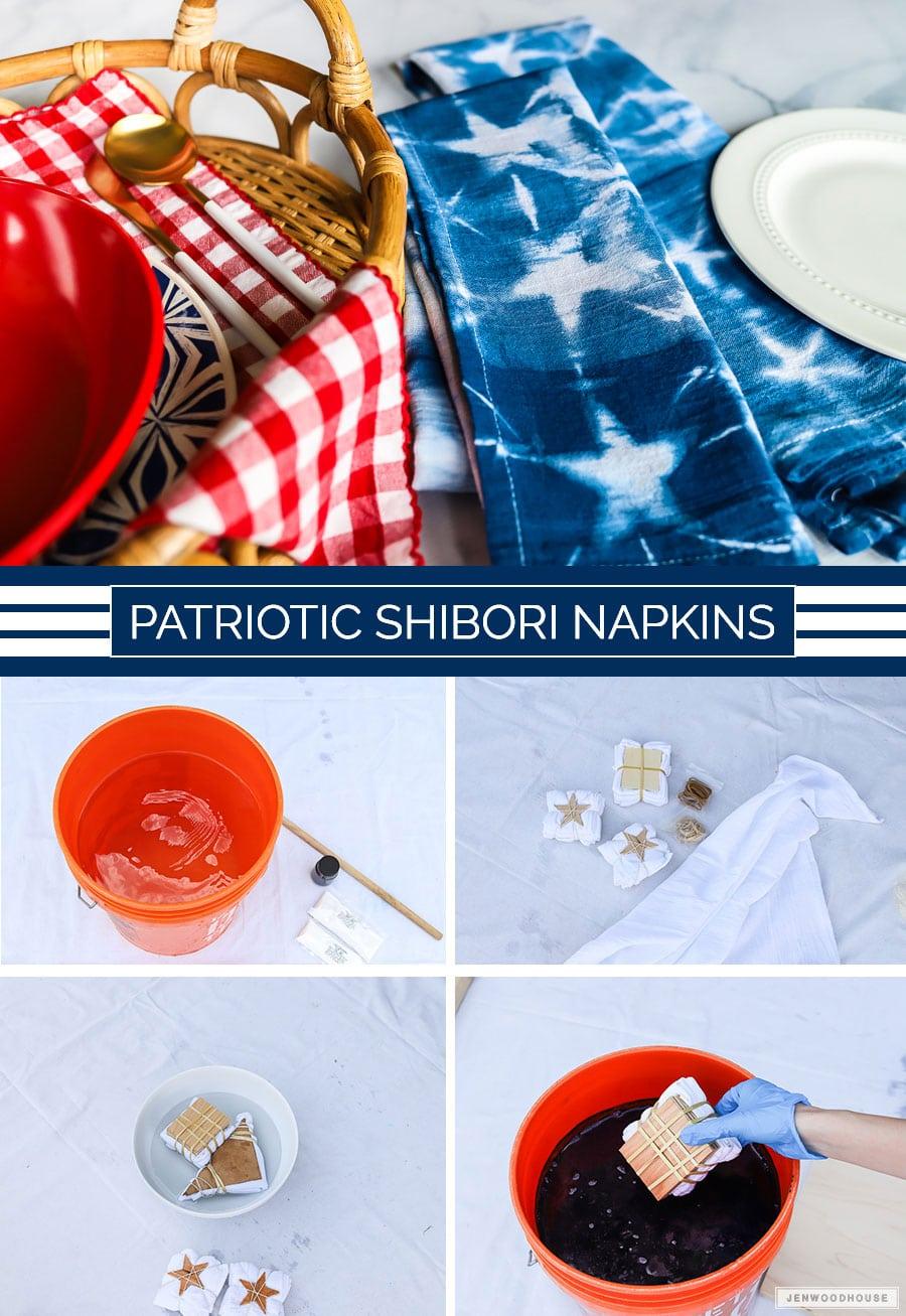 DIY Patriotic Shibori Indigo Dyed Napkins - perfect for a Summer BBQ!