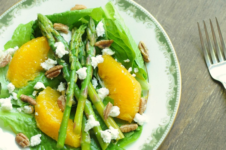 Spring Salad with Marinated Asparagus, Oranges, Goat Cheese, and Toasted Pecans written from House of Wood by Biscuits & Burlap