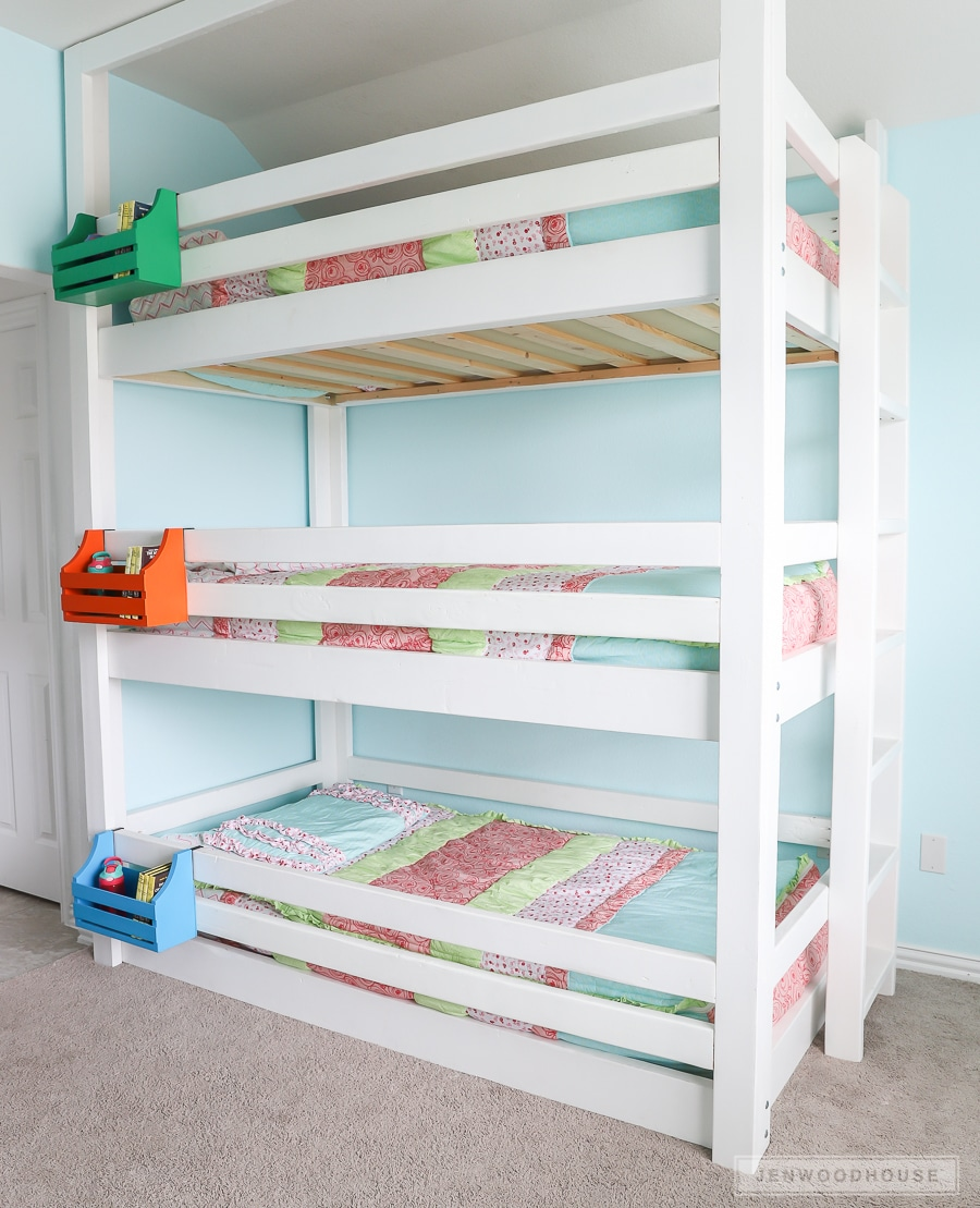 DIY Triple Bunk Bed with Bunk Bed Caddy