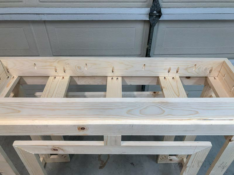 attaching spacer on Ballard inspired DIY console table