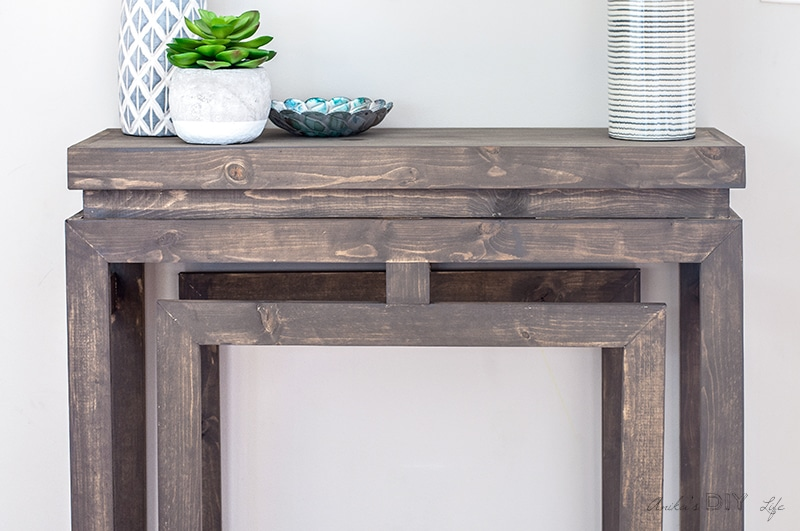 Close up view of DIY console table