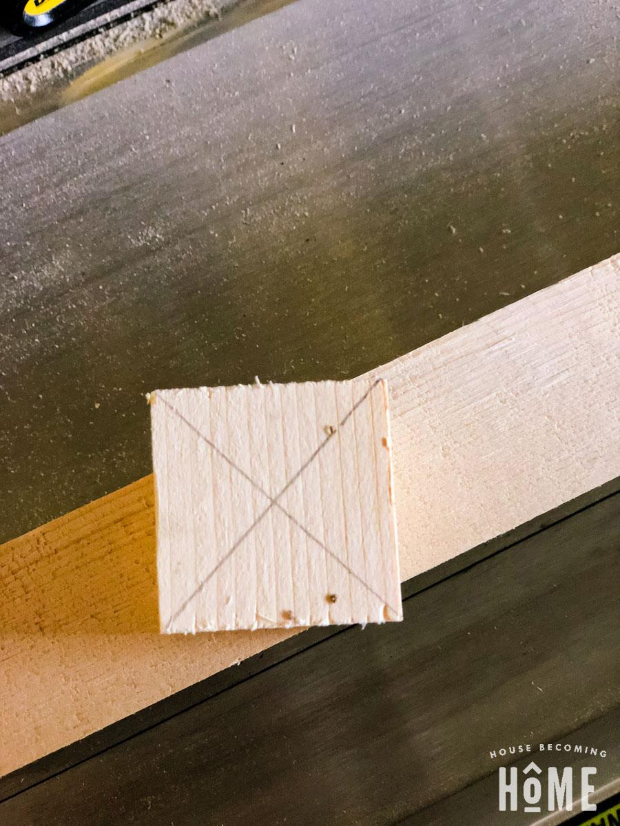 scrap 2x2 block, center marked