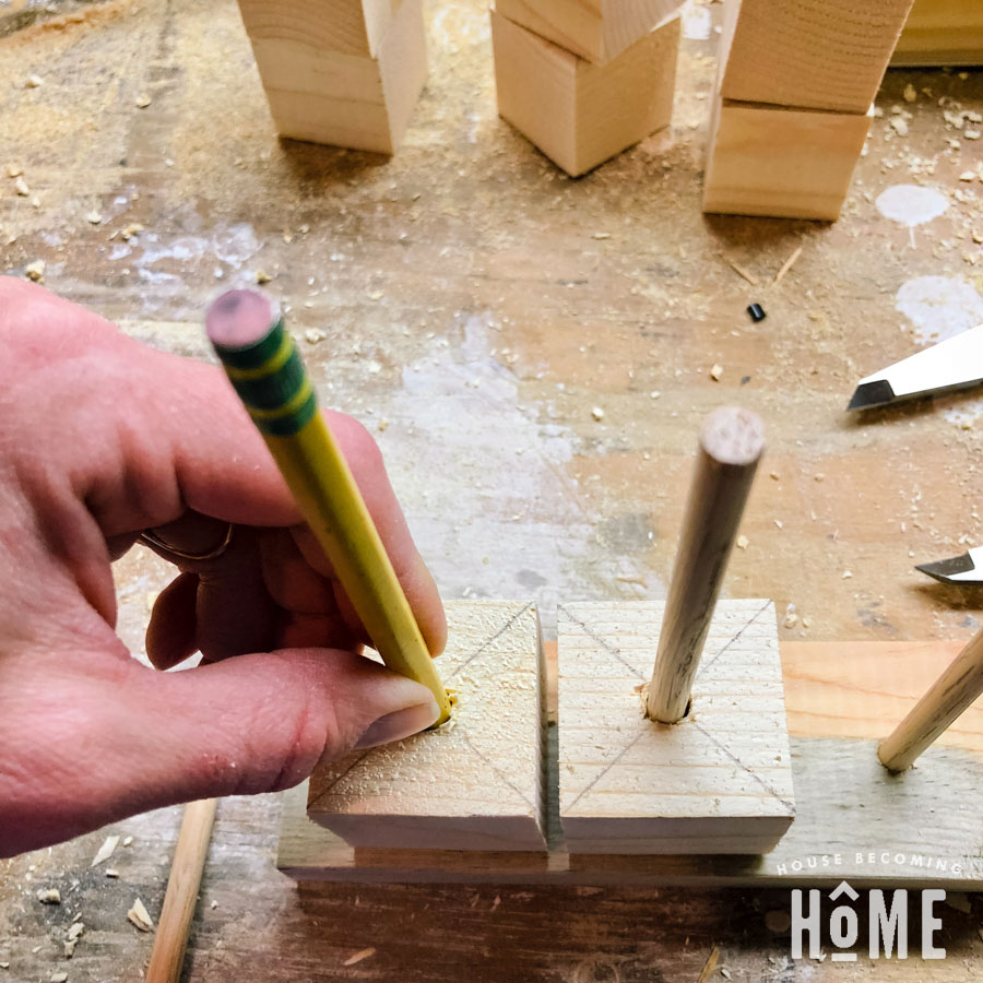 determining placement of dowels for scrap wood puzzle