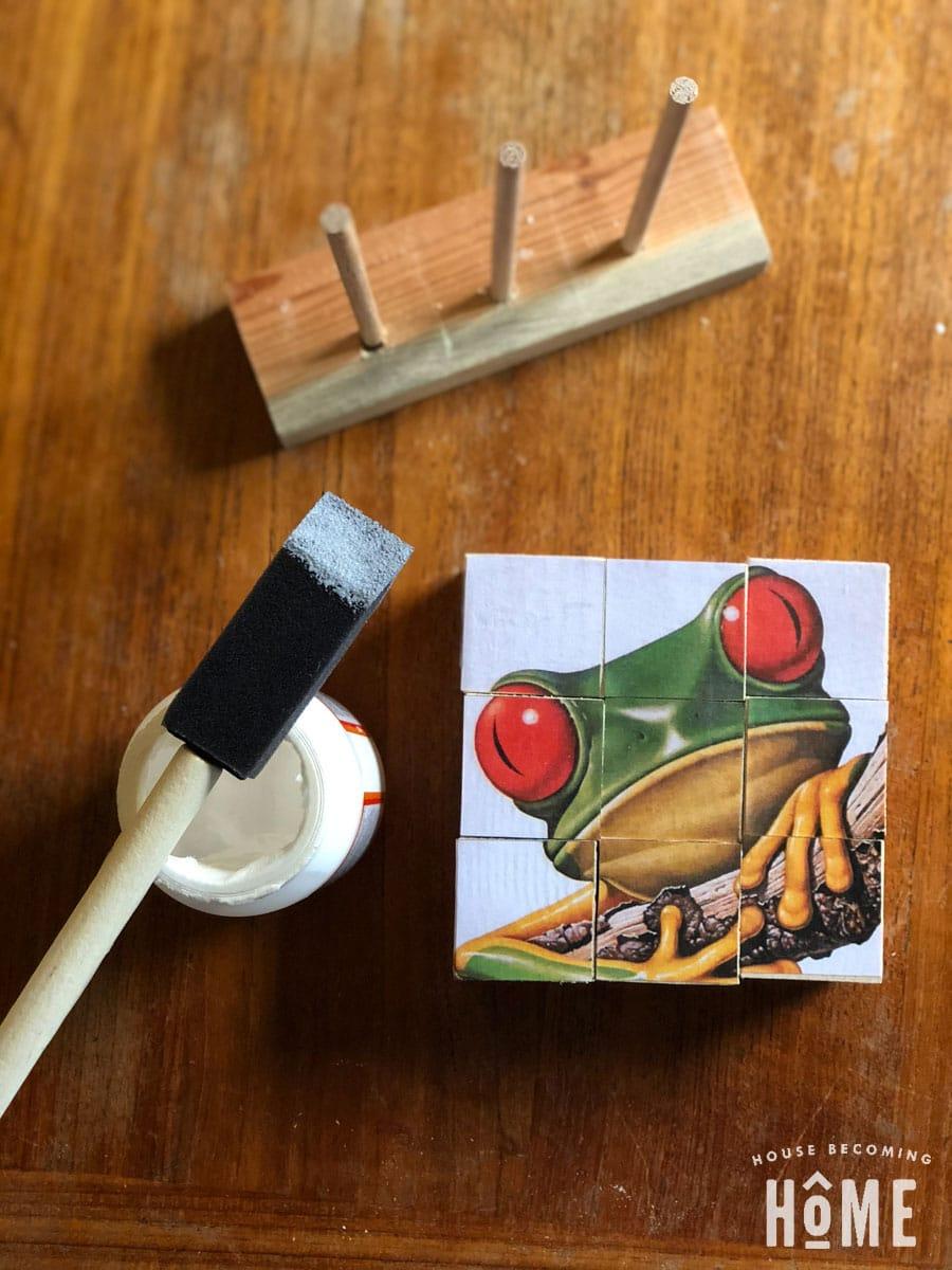 glue image onto wood blocks