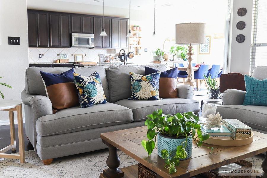 Living room decorated for summer