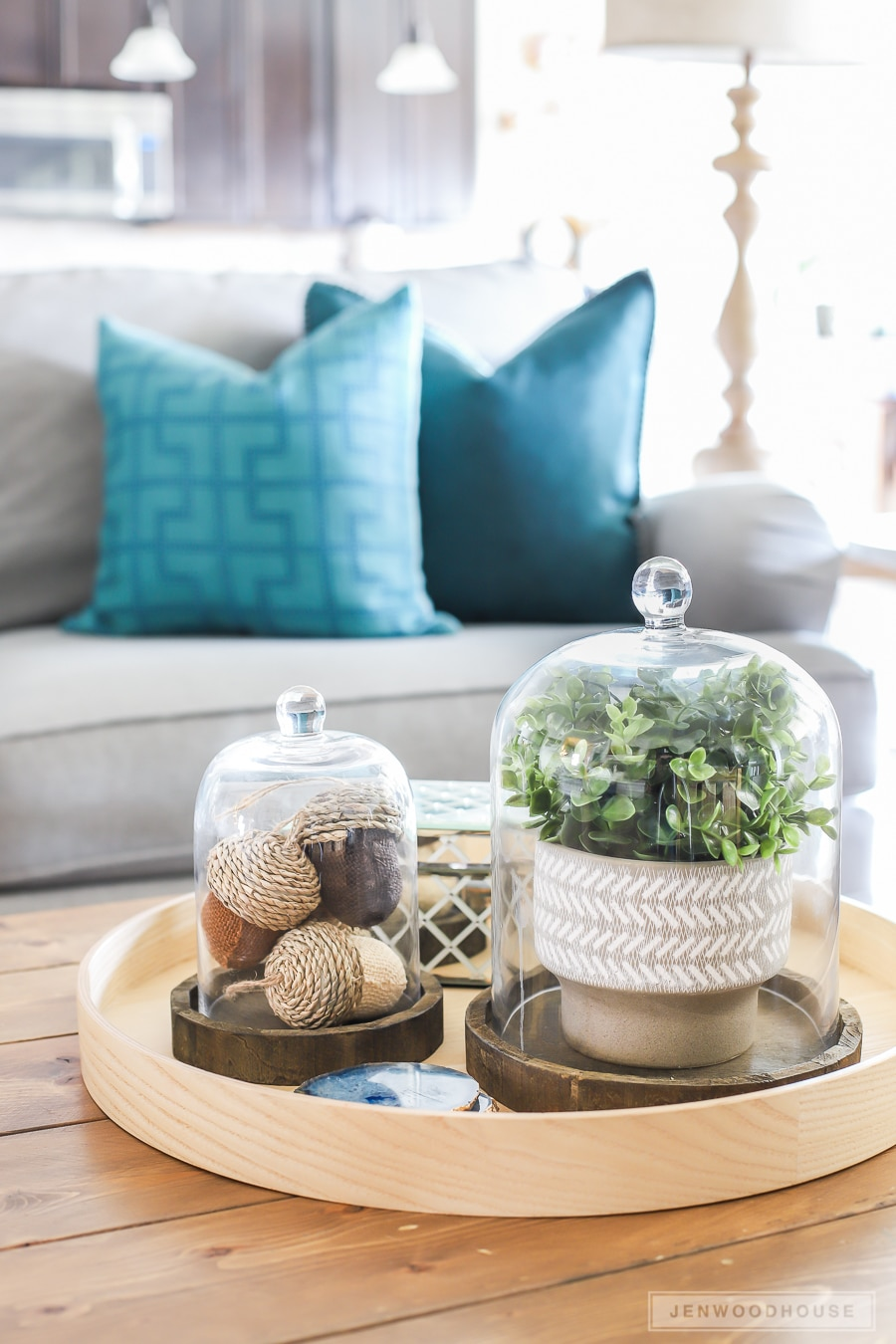 Add simple seasonal touches to your coffee table to decorate for Fall