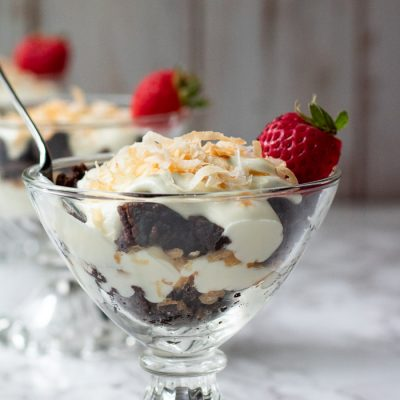Brownie Trifle with Toasted Coconut