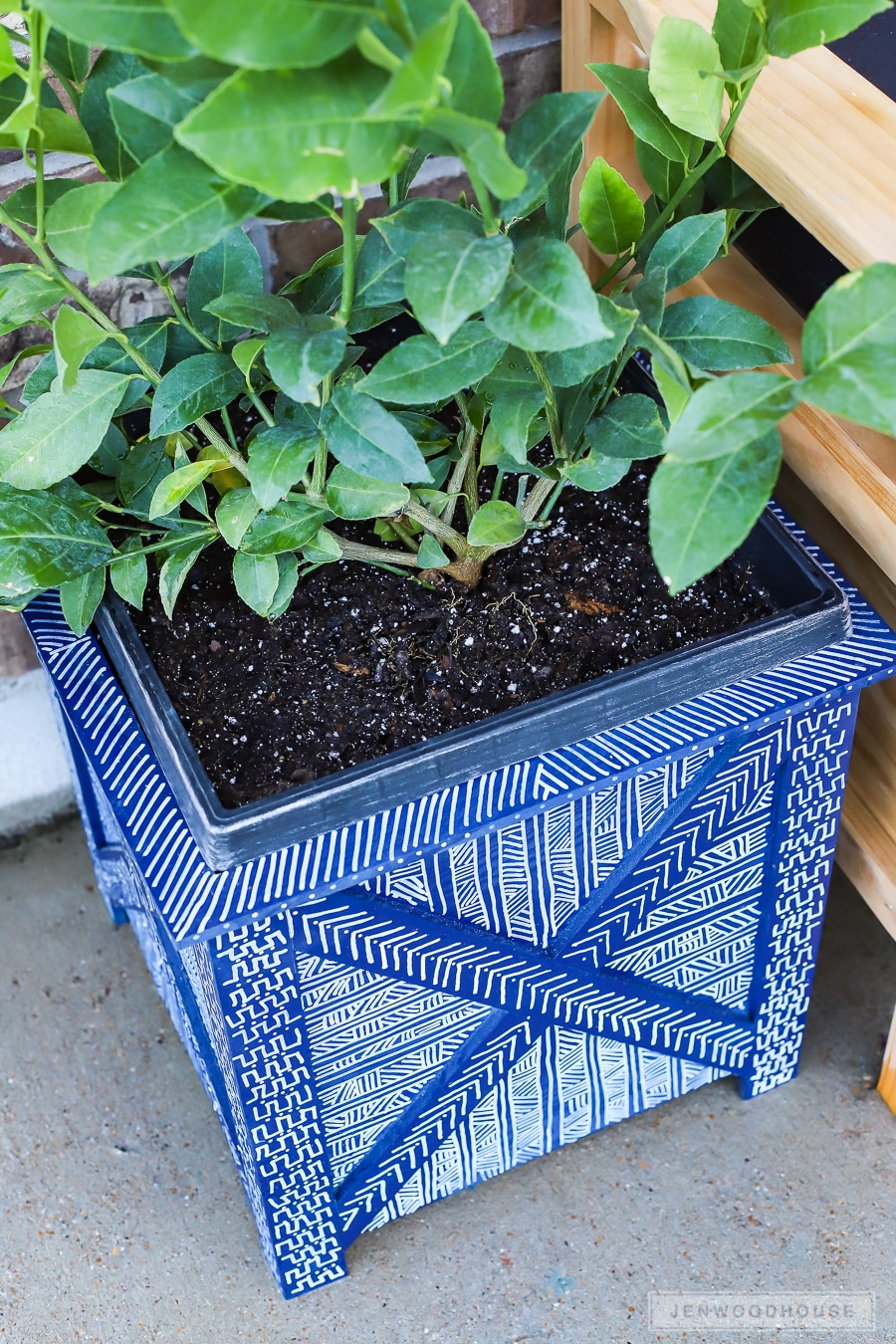 DIY box planter with hand-painted mud cloth design
