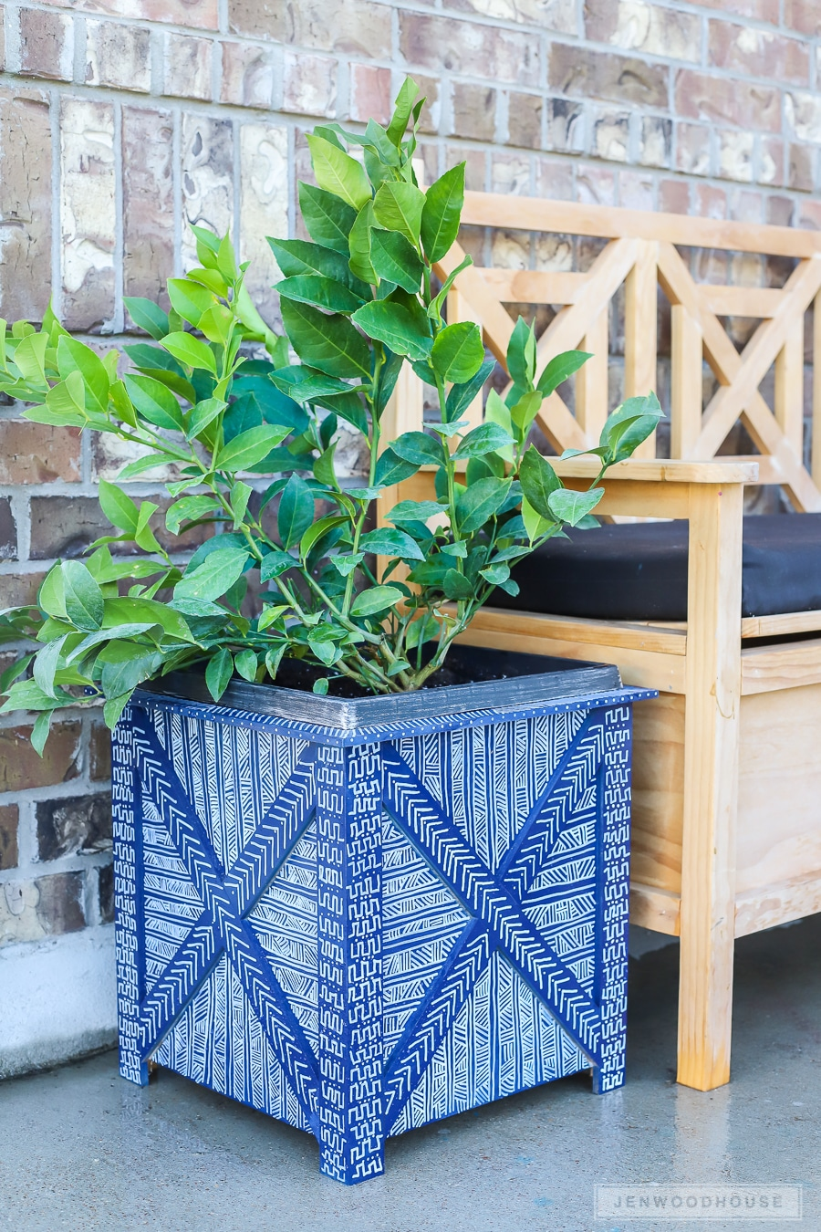 DIY hand painted mud cloth planter