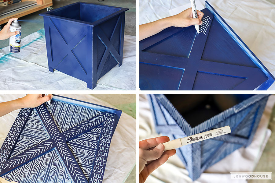 How to make DIY mud cloth painted planters