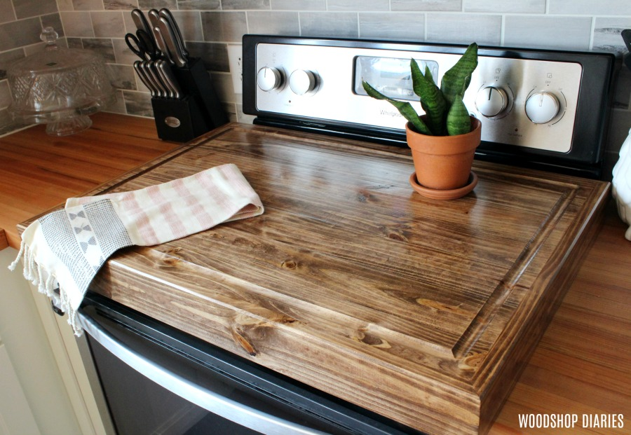 Make a DIY wooden stove top cover and add more counter ...