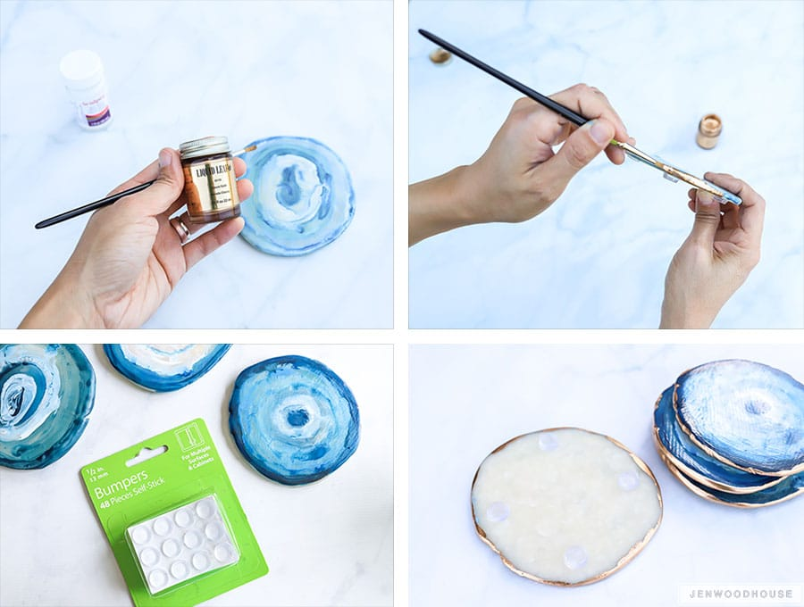 How to make DIY agate geode coasters with clay and paint