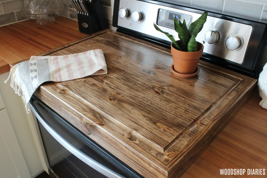 Make A Diy Wooden Stove Top Cover And Add More Counter Space To Your