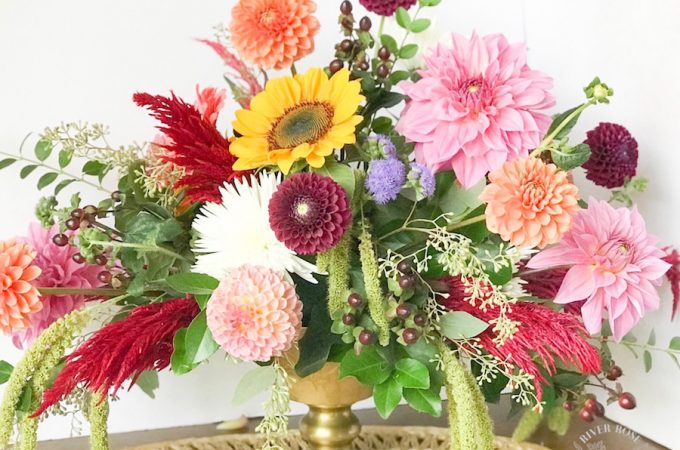 How to create a beautiful burgundy and blush floral centerpiece - perfect for Fall weddings and events!