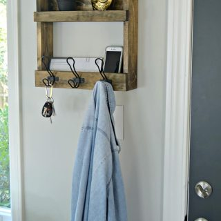 Rustic Wall Mounted Coat Rack with Shelves
