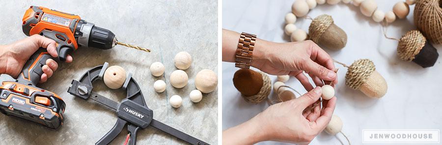 DIY acorn garland how to make