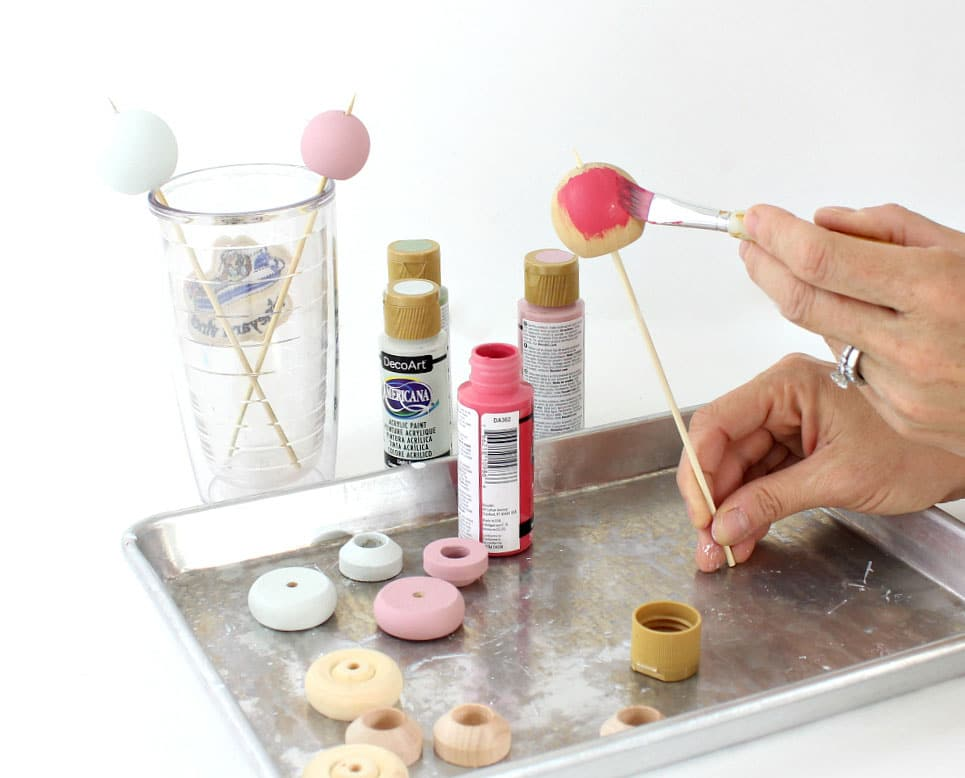 painting wood balls with acrylic craft paint