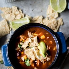 Delicious, and colorful chicken tortilla soup for a cozy fall day!