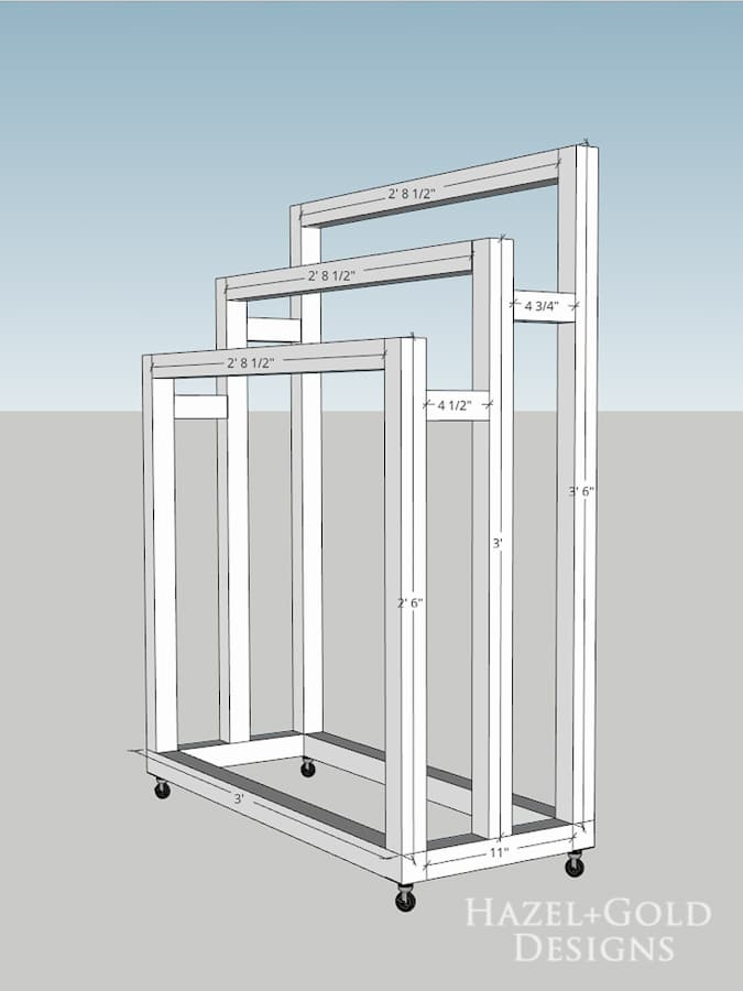 DIY Freestanding Towel Rack - Fully Assembled diagram