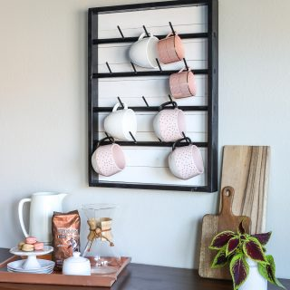 How to make a DIY wall-mounted coffee mug display rack