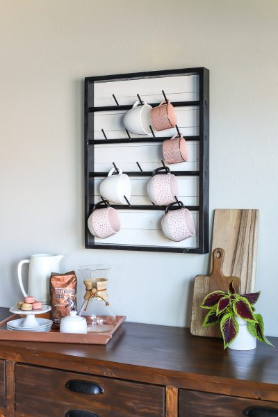 How to make a DIY wall-mounted coffee mug display rack